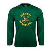 Performance Dark Green Longsleeve Shirt-Basketball