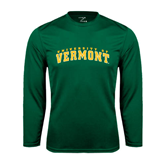 Performance Dark Green Longsleeve Shirt-Arched University of Vermont
