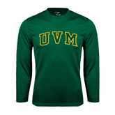 Performance Dark Green Longsleeve Shirt-Arched UVM