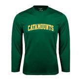 Syntrel Performance Dark Green Longsleeve Shirt-Arched Catamounts