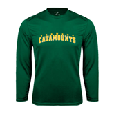 Performance Dark Green Longsleeve Shirt-Arched Vermont Catamounts