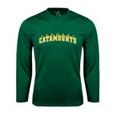 Syntrel Performance Dark Green Longsleeve Shirt-Arched Vermont Catamounts