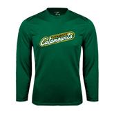 Syntrel Performance Dark Green Longsleeve Shirt-Slanted Vermont Catamounts