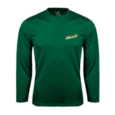 Performance Dark Green Longsleeve Shirt-Slanted Vermont Catamounts