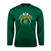 Performance Dark Green Longsleeve Shirt-Basketball in Ball Design