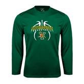 Syntrel Performance Dark Green Longsleeve Shirt-Basketball in Ball Design