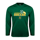 Performance Dark Green Longsleeve Shirt-Soccer Swoosh Design