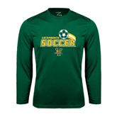 Syntrel Performance Dark Green Longsleeve Shirt-Soccer Swoosh Design
