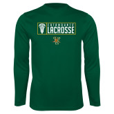 Performance Dark Green Longsleeve Shirt-Lacrosse Helmet Design