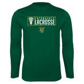 Syntrel Performance Dark Green Longsleeve Shirt-Lacrosse Helmet Design