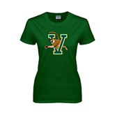 Ladies Dark Green T Shirt-Official Logo