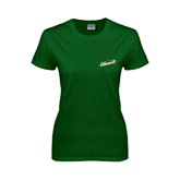 Ladies Dark Green T Shirt-Slanted Vermont Catamounts