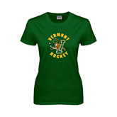 Ladies Dark Green T Shirt-Hockey