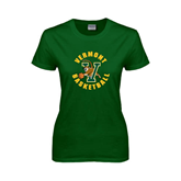 Ladies Dark Green T Shirt-Basketball