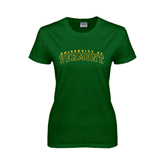 Ladies Dark Green T Shirt-Arched University of Vermont