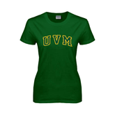 Ladies Dark Green T Shirt-Arched UVM