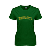 Ladies Dark Green T Shirt-Arched Vermont
