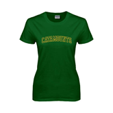Ladies Dark Green T Shirt-Arched Catamounts