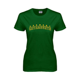 Ladies Dark Green T Shirt-Arched Vermont Catamounts