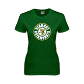 Ladies Dark Green T Shirt-Vermont Catamounts Circle