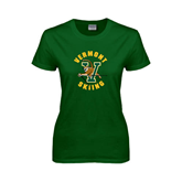 Ladies Dark Green T Shirt-Skiing