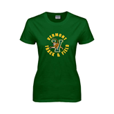 Ladies Dark Green T Shirt-Track and Field