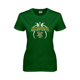 Ladies Dark Green T Shirt-Basketball in Ball Design