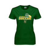 Ladies Dark Green T Shirt-Soccer Swoosh Design
