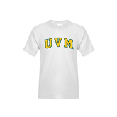 Youth White T Shirt-Arched UVM