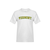 Youth White T Shirt-Arched Vermont