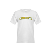 Youth White T Shirt-Arched Catamounts