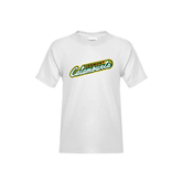 Youth White T Shirt-Slanted Vermont Catamounts