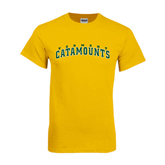 Gold T Shirt-Arched Vermont Catamounts