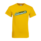 Gold T Shirt-Slanted Vermont Catamounts