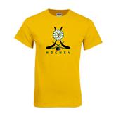 Gold T Shirt-Hockey Sticks Crossed Design