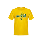 Youth Gold T Shirt-Soccer Swoosh Design