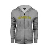 Ladies Grey Fleece Full Zip Hoodie-Arched Catamounts
