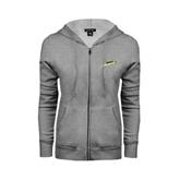 Ladies Grey Fleece Full Zip Hoodie-Slanted Vermont Catamounts