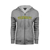 Ladies Grey Fleece Full Zip Hoodie-Arched Vermont
