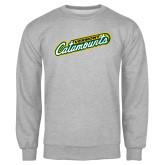 Grey Fleece Crew-Slanted Vermont Catamounts