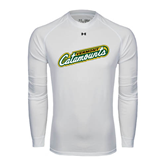 Under Armour White Long Sleeve Tech Tee-Slanted Vermont Catamounts