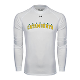Under Armour White Long Sleeve Tech Tee-Arched Vermont Catamounts