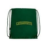 Dark Green Drawstring Backpack-Arched Catamounts