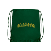 Dark Green Drawstring Backpack-Arched Vermont Catamounts