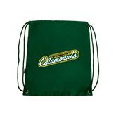 Dark Green Drawstring Backpack-Slanted Vermont Catamounts