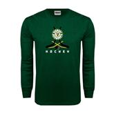 Dark Green Long Sleeve T Shirt-Hockey Sticks Crossed Design