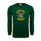Dark Green Long Sleeve T Shirt-Hockey