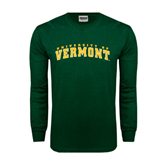 Dark Green Long Sleeve T Shirt-Arched University of Vermont