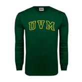 Dark Green Long Sleeve T Shirt-Arched UVM