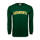 Dark Green Long Sleeve T Shirt-Arched Catamounts